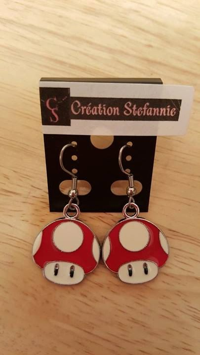 Necklace/Earring Mushroom Mariobros Collier/Boucles