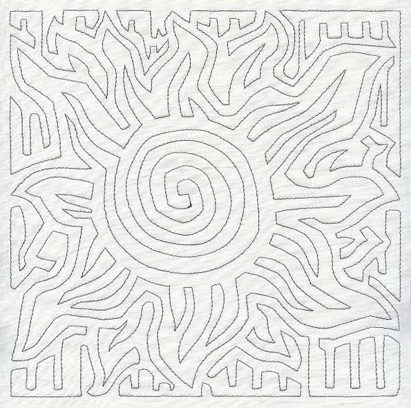 Mola Sun Quilting Square (Single Run)