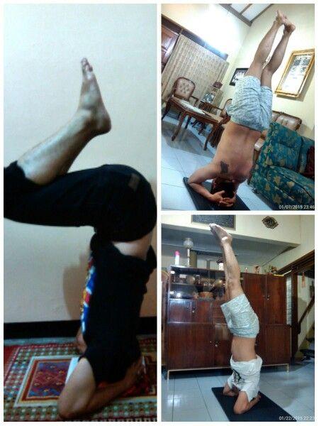 His progress… #Namaste #YogaPractice #SupportedHeadstand