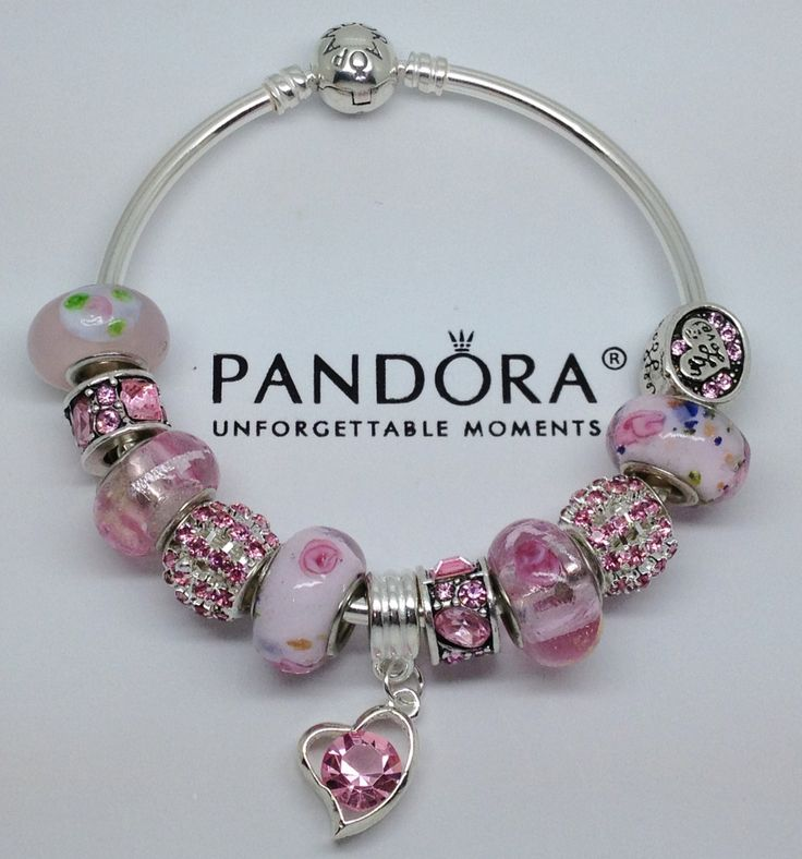 New Release Sterling Authentic Pandora Bangle Bracelet W Beads Charm Pink Love Jewelry