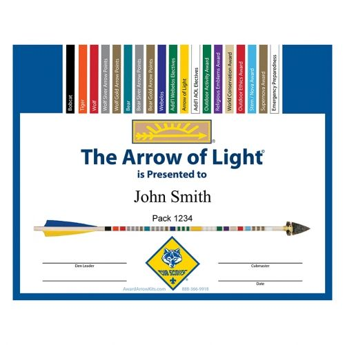 Congratulations! Your boys have achieved their Arrow of Light. Commemorate the achievement with this full color personalized certificate. There is no cost to create and download these free certificates. They can be printed on a home computer as 8.5 x 11 certificates or sent to your favorite photo printing site to print as glossy 8x10 prints. Either way, they are perfect for framing. Create Certificates