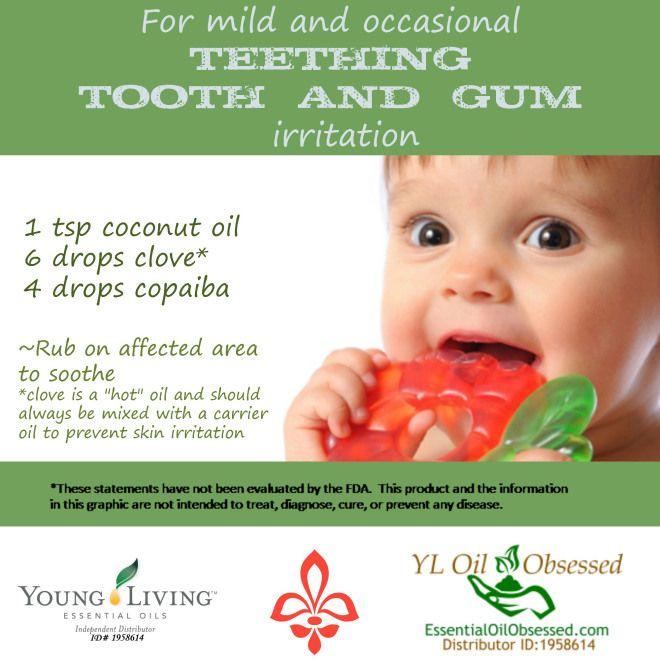 Copaiba essential oil | EssentialOilObsessed.com. Teething, tooth, and gum irritation. Copaiba, clove oil