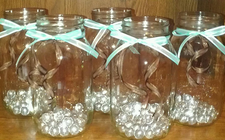 DIY mason jars with ribbon  cute for center pieces