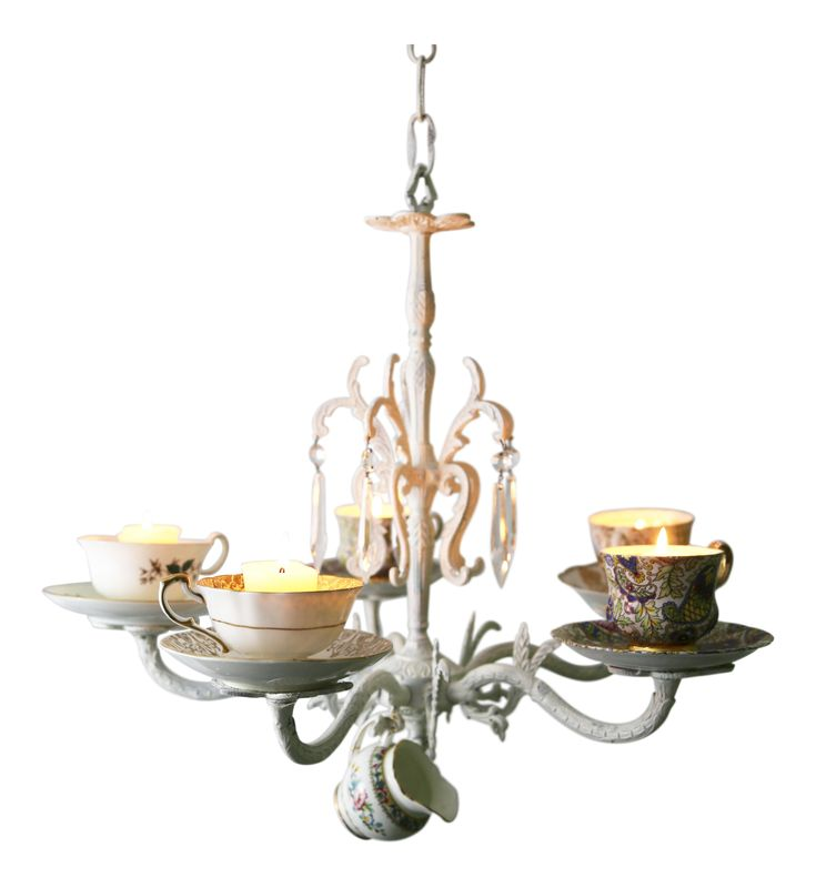 Wrought Iron Teacup Candle Chandelier on Chairish.com