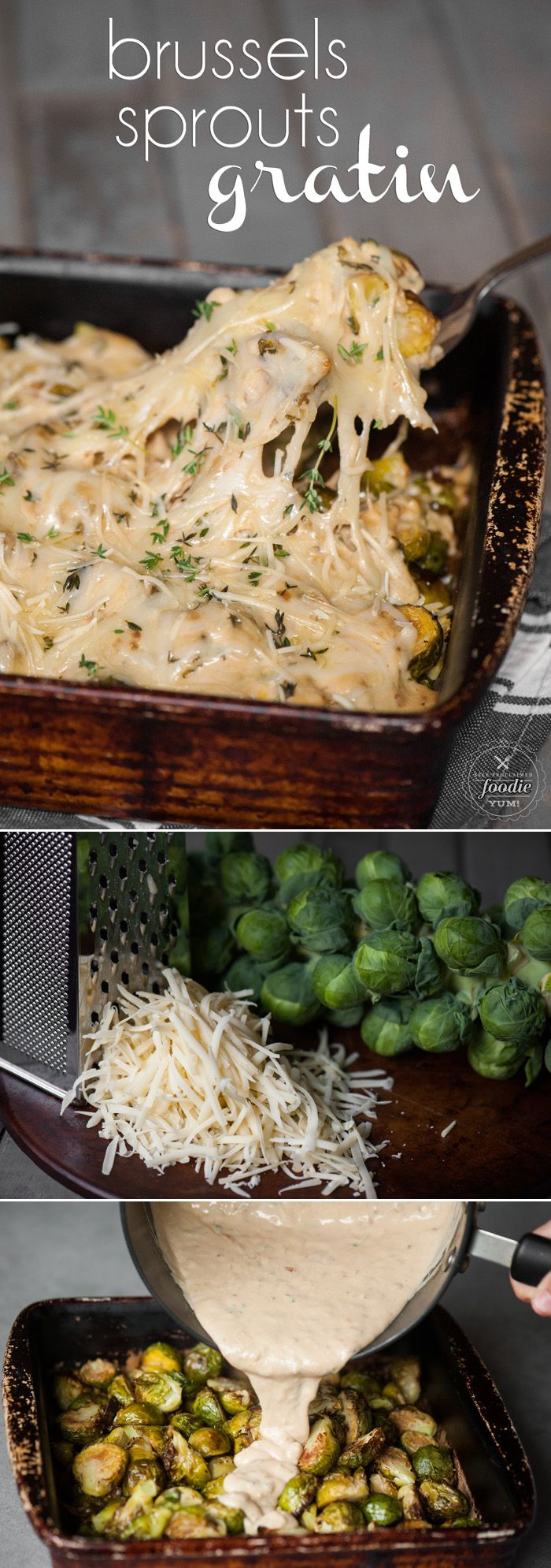 Brussels Sprouts Gratin combines roasted fresh brussels sprouts with a creamy gruyere cheese sauce to create a heavenly vegetable side dish.