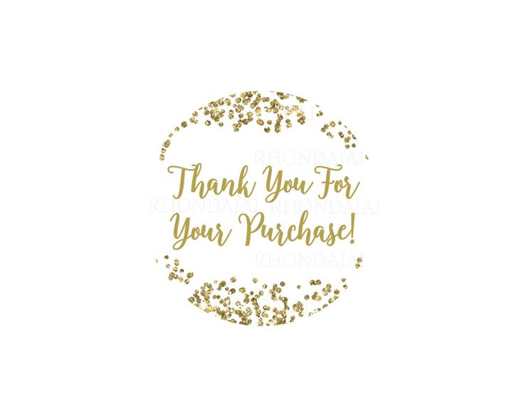 Thank you stickers printable sticker thank you for your purchase sticker thank you for your order round inches glitter gold by rhondajai on etsy