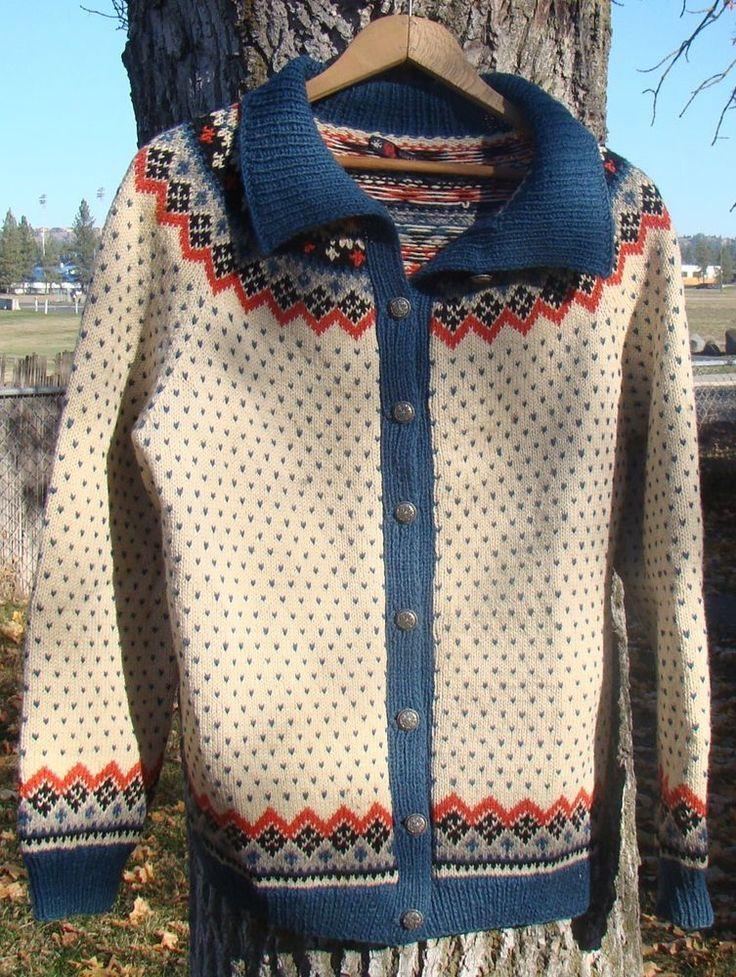 Fargekombo: Norsk Husflid,Vintage Mult-Color,Geometric Design Cardigan Sweater 100% Wool M. #NorskHusflid #Cardigan