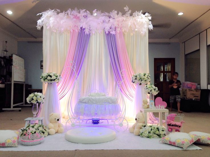 Pelamin cukur jambul Simple deco pink purple Fantasy pram Cradle Majlis di Damansara
