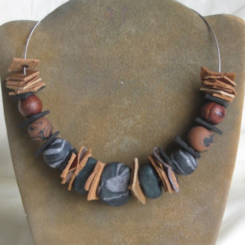 Grey and brown chunky bead and leather necklace