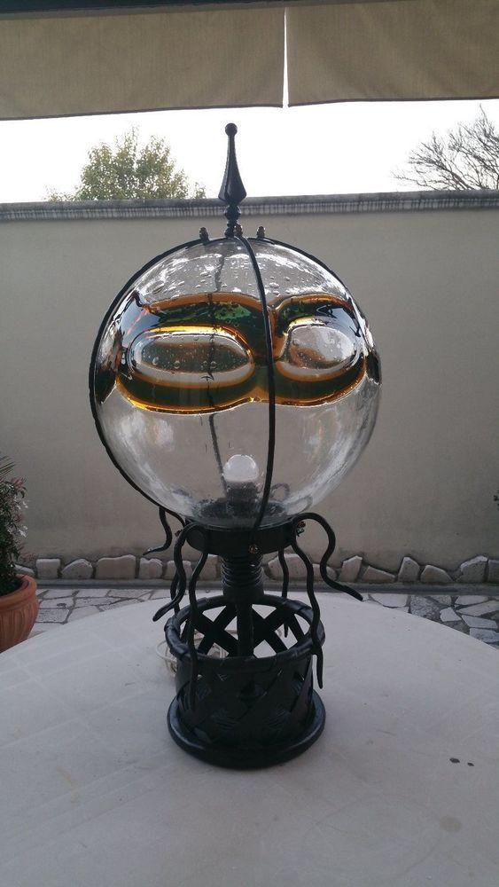 Lampadario da tavolo vintage in vetro soffiato-ferro battuto-lavorato a mano.