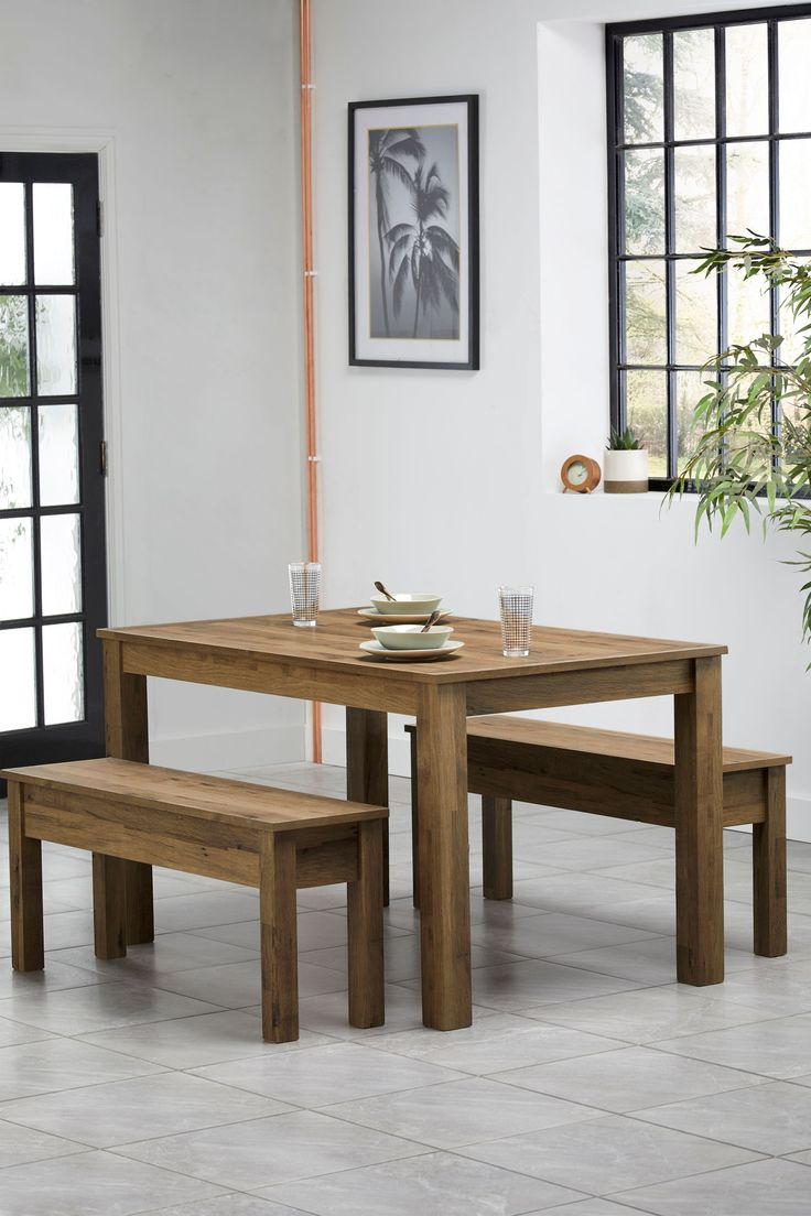 Next Bronx Dining Table And Bench Set - Natural in 2020 ...