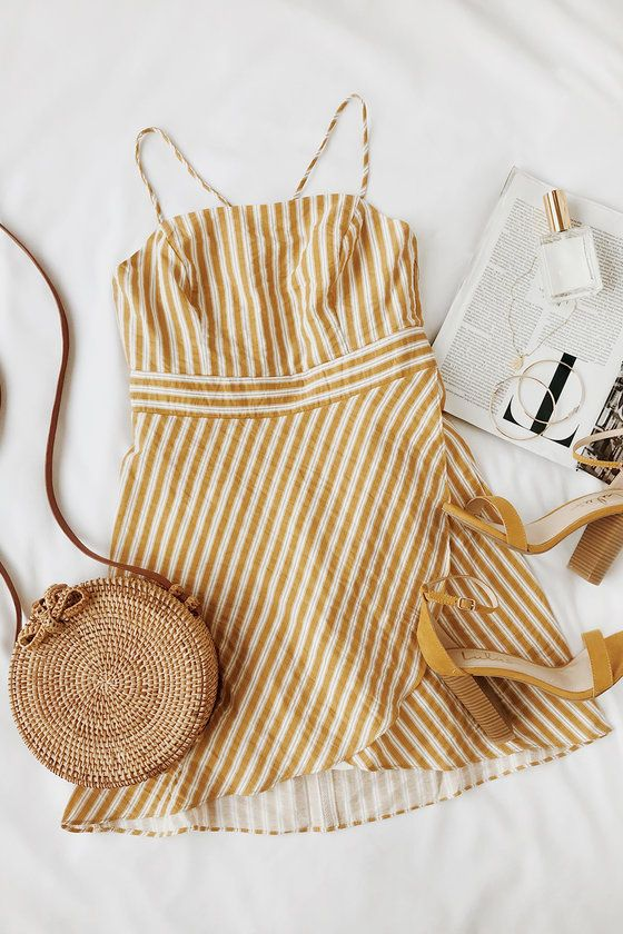 Central Park Yellow and White Striped Dress 5