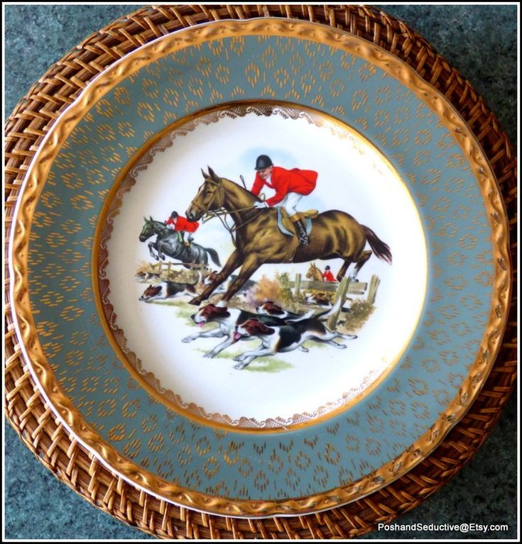 Fox looking collectible pair uncommon turquoise delux giant dinner plates, show cupboard equestrian china hand painted artwork closely gilded rims