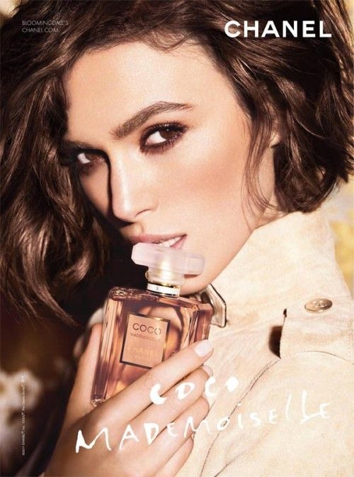 "#Keira_Knightley ad for #Chanel's Coco Mademoiselle perfume, 2011. She was chosen as Chanel spokesmodel in 2006. Chanel's Jacques Helleu said of her appointment: ""Keira Knightley is a bright, young actress who has already made her mark in a diverse portfolio of films, including her Oscar-nominated performance in `Pride & Prejudice.'"""
