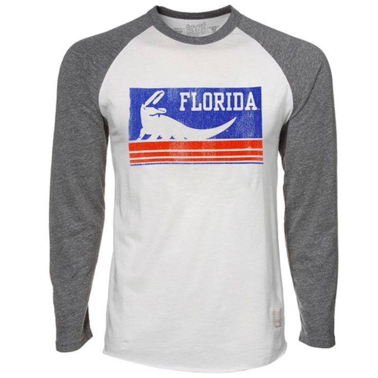 Original Retro Brand Florida Gators Cream-Gray Long Sleeve Raglan Premium Tri-Blend T-shirt