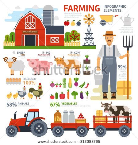 Farming infographic elements with farmer, farm, windmill, garden, tractor, animals, vegetables, fruits, harvest, hay, tools. Flat design. Vector illustration.Tractor driven natural products