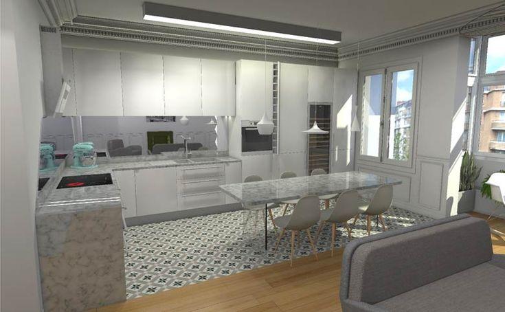 Vue 3D de la conception d'une cusine par un architecte spécialiste de l'architecture d'intérieur