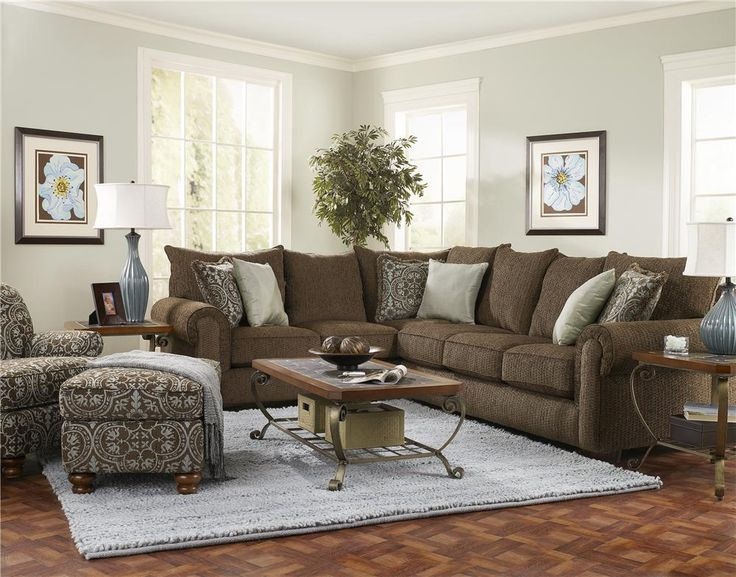 brown color living room enchanting sectional with paisley and plain cushions 16124