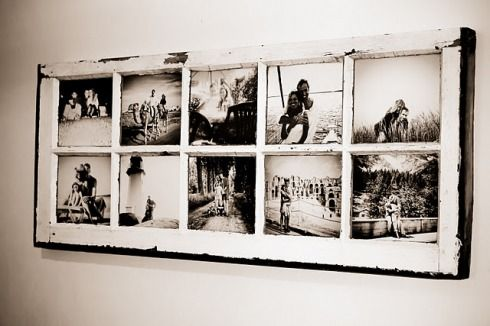 Turn and old window pane into a picture frame! Can't begin to even count how many of these I have around the house..