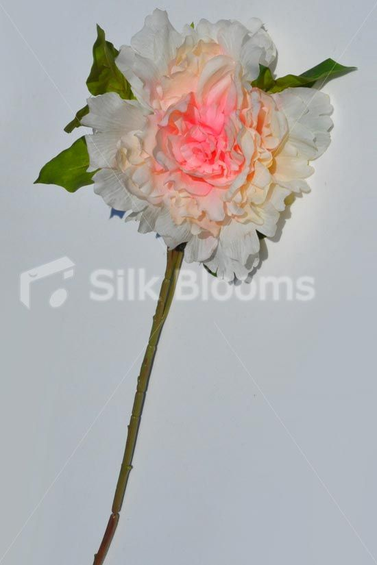Artificial Peony Floral Stem in Pink Colour. Silk Peony Full Bloom Single Stem Flower 69cm