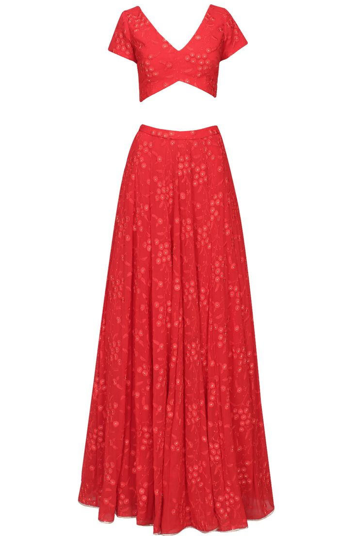 Red floral embroidered lehenga and blouse set available only at Pernia's Pop Up Shop.