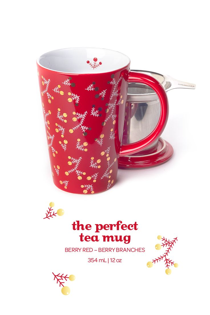The Perfect Tea Mug - Berry Branches. Sip yourself festive with this cheerful red mug, with a pretty design of berries and holly.