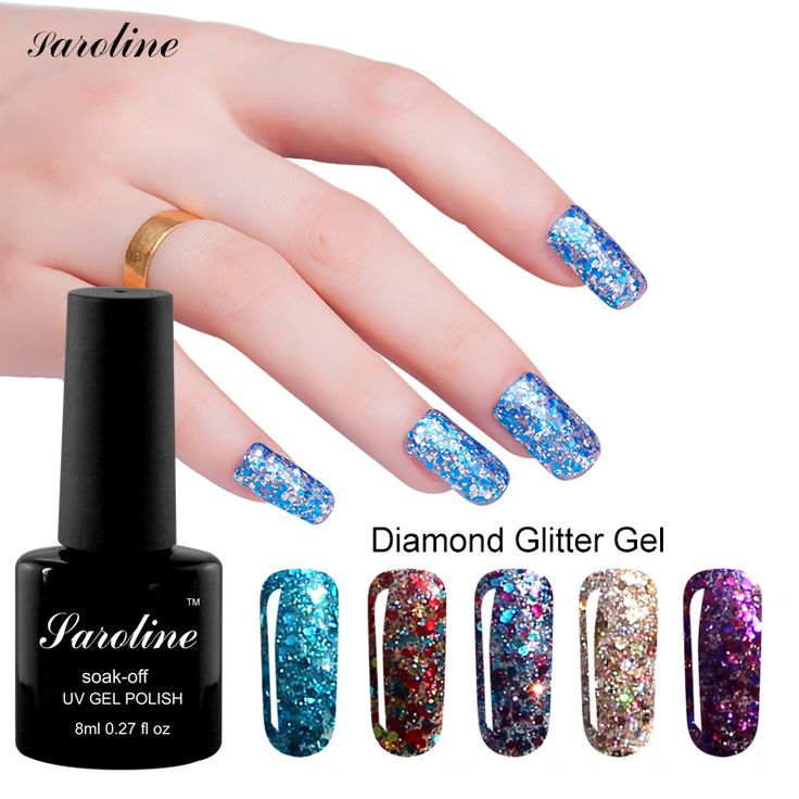 Saroline 8 ML 3d Diamond Glitter Kleur Gouden Pailletten Gel Vernis losweken nail art Professionele UV Led goedkope Gel Nail Polish
