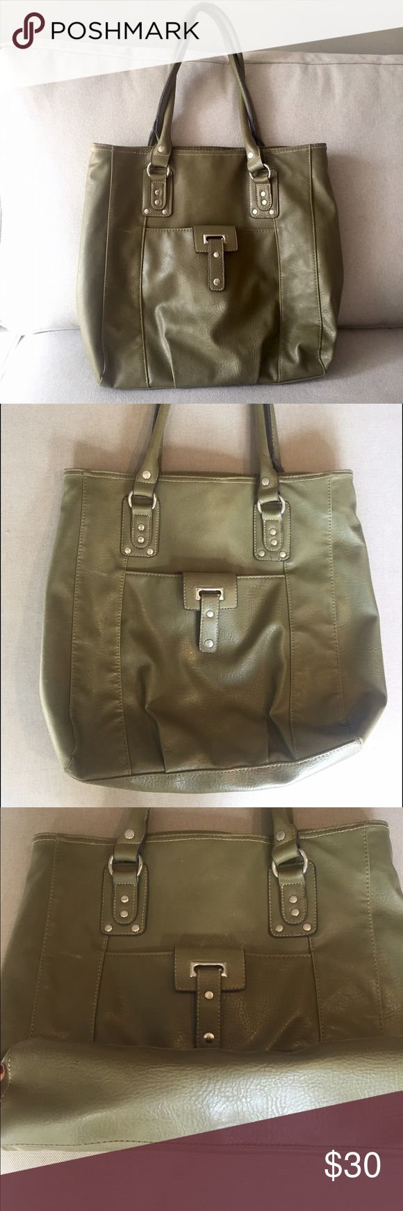 Olive Green Handbag Bentley used green leather bag with grey silky lining. Fits a laptop on its side perfectly. Great for class or work! No marks, inside and bottom of bag are pictured. Make me an offer! Bags Totes