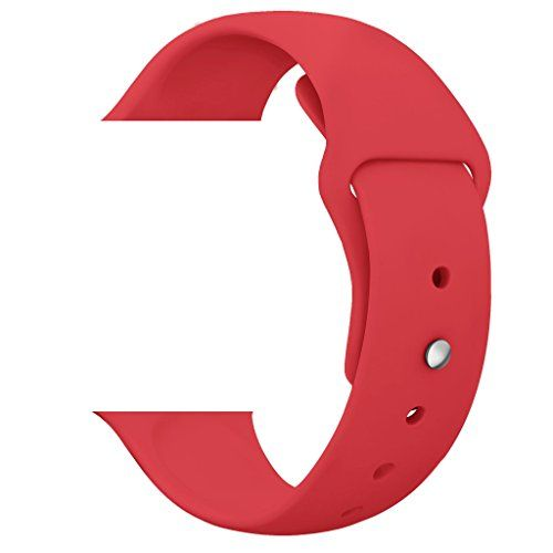 Watch Band HuanlongTM Soft Silicone Sport Style Replacement Iwatch Strap for Apple Wrist Watch Red 38mm Ml