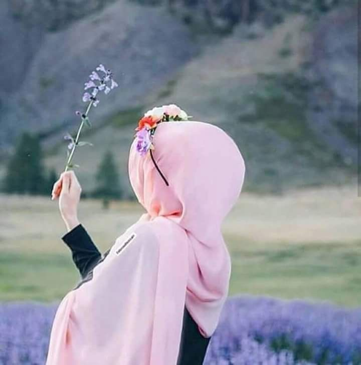 Image result for girl with hijab lavender flower