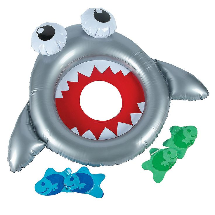 Could this be floating in a small baby pool.  Inflatable Shark Bean Bag Toss Game - OrientalTrading.com