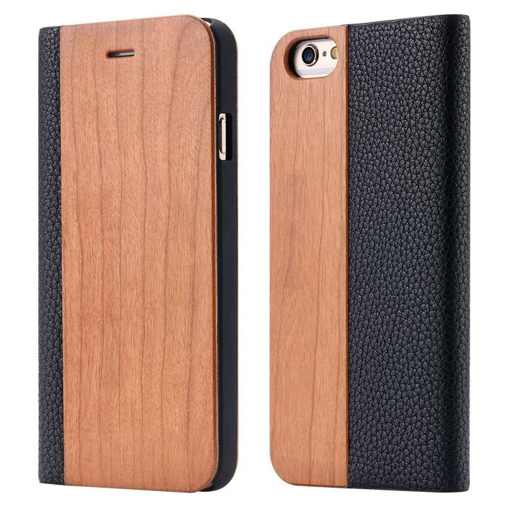 Natural Wood Leather Card Holster Housing For Apple Iphone 6 6s S 47 Real Wooden