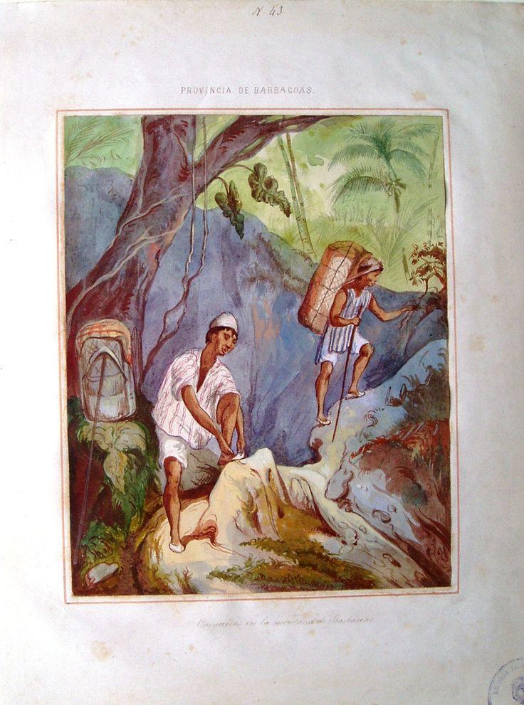 """""""Cargueros en la montaña de Barbacoas"""", acuarela de Manuel María Paz, 1853. BNC, 4977."""