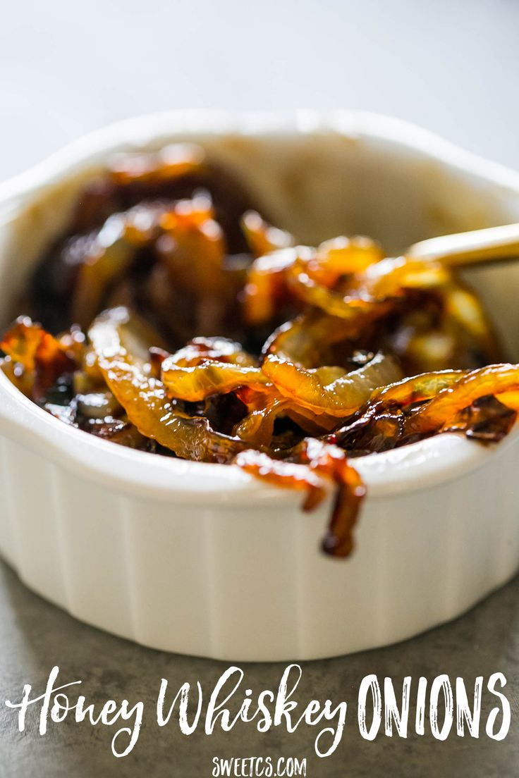 Sweet, smoky, buttery and delicious honey whiskey caramelized onions are a decadent, delicious topping for sandwiches, burgers, and burritos!