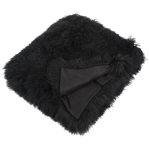 Amara Fulton Sheepskin Throw - Black ($1,416) ❤ liked on Polyvore featuring home, bed & bath, bedding, blankets, black, sheepskin throw blanket, sheepskin throw, black blanket, black throw and sheepskin blanket