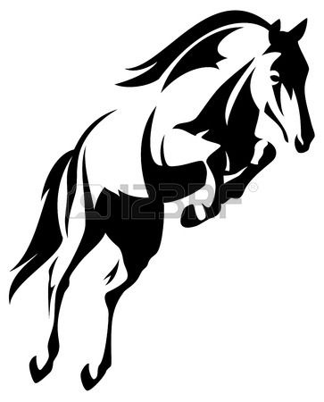 beautiful jumping horse black and white vector outline Stock Vector