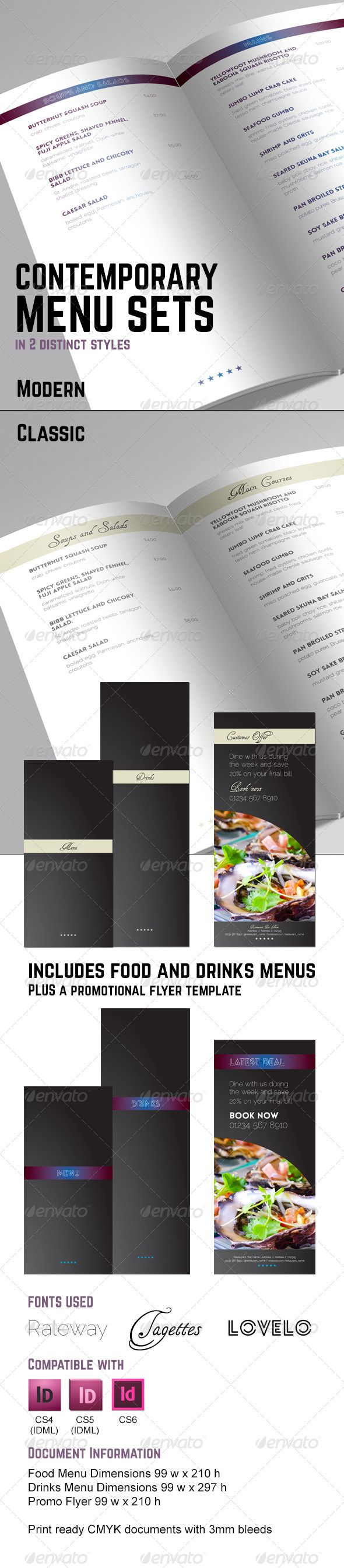 Contemporary Sophisticated Menu Set — InDesign INDD #cuisine #menu • Available here → https://graphicriver.net/item/contemporary-sophisticated-menu-set/5947634?ref=pxcr