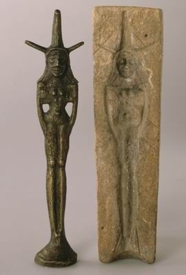 Stone mold for casting female figurine and modern cast. 19th-17th century BCE. Nahariya, Israel.