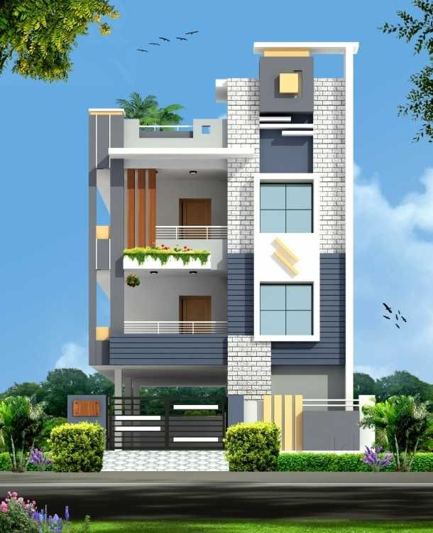 Home Design Exterior Ideas In India: Elevation-2 Only Terrace Part
