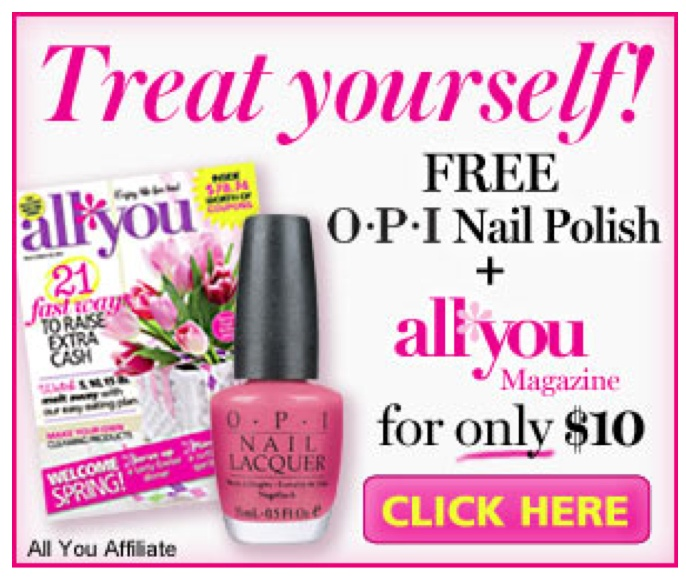 Still Available: Get Free OPI Nail Polish with this All You Magazine Deal! - http://www.livingrichwithcoupons.com/2013/02/still-available-get-free-opi-nail-polish-with-this-all-you-magazine-deal.html