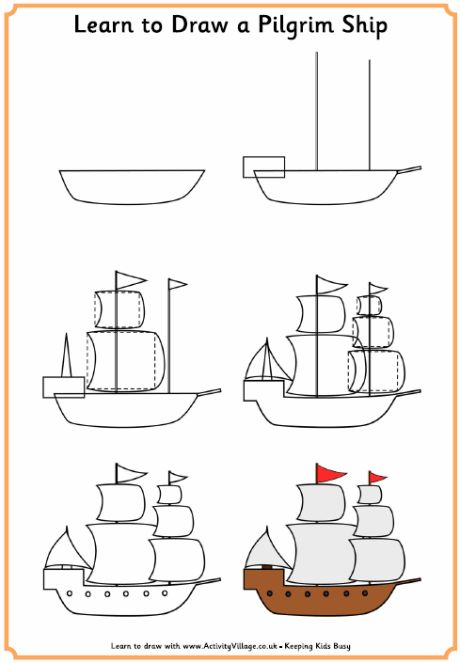 Learn to draw a pilgrim ship  #earlyamericanhistory #pilgrims #homeschool