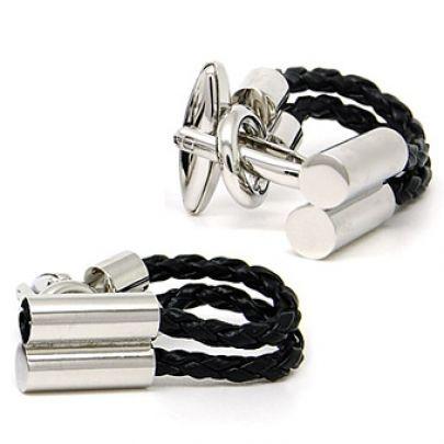 Black Rope Silver Cufflinks