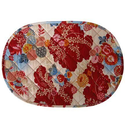 Oval Quilted Placemats Cardinals Kimono Quilted Oval