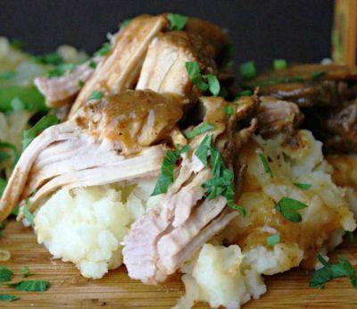 Beer Braised Pork Roast cooked in a crock pot  Printable recipe http://thegardeningcook.com/beer-braised-pork-roast/