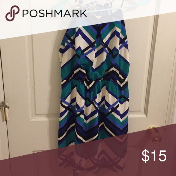 Alya High Neck Dress Very soft, light fabric. Green, blue, black, and white. Ties in back. Can be cute for going out and also professional! alya Dresses Mini
