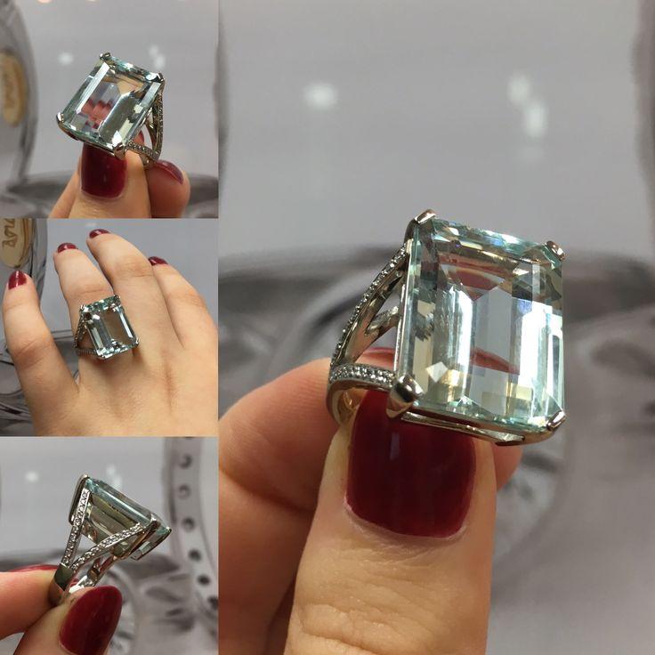 Platinum, Aquamarine and Diamond Dress Ring