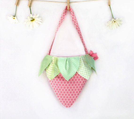 Strawberry -As Seen in Vogue Bambini, Girls Tote, Childrens Accessories, Pink, Purse, Little Girls Bag, Handbag,  Polka Dot,  Kids. $25.00, via Etsy.