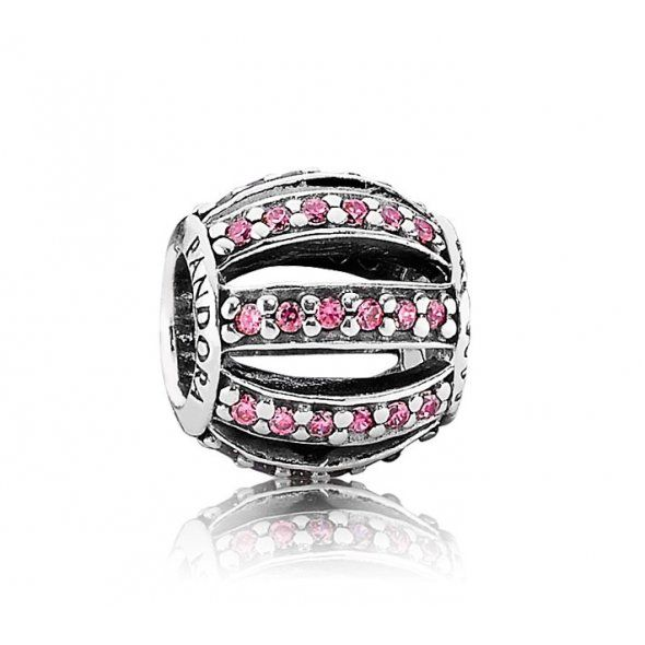 SILVER AND PINK OPENWORK PAVÉ BARREL CHARM