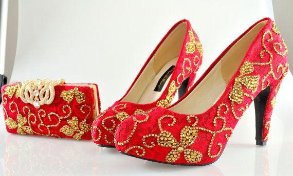 Mariage personnalisé Cristal Swarovski nuptiale indienne moyen talon Or Rouge Velvet Suede Lace pompe Cour Rectangle Pochette bourse Set
