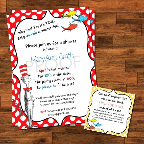 POPULAR! Dr Suess Baby Shower Invitations  Bring a book instead of a card 5x7 $17.00